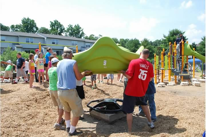Picture of volunteers on community build playground
