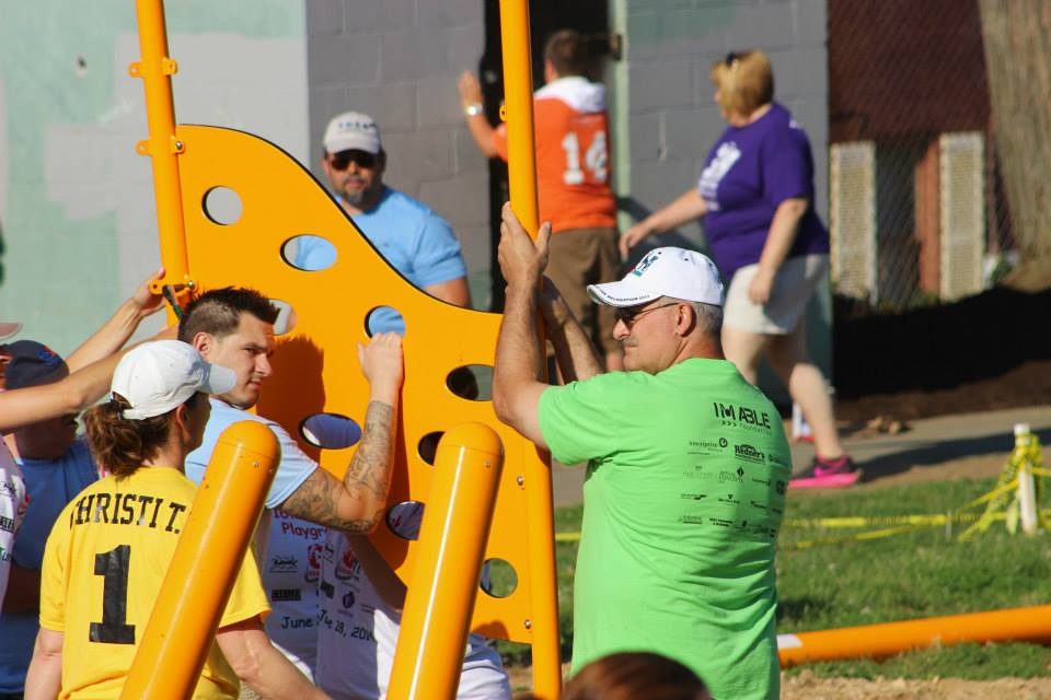 Picture of volunteers building playground