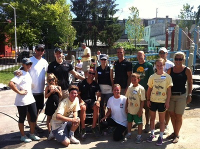 photo of volunteers who built a playground