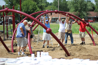 photo of volunteers on a community build playgrounds