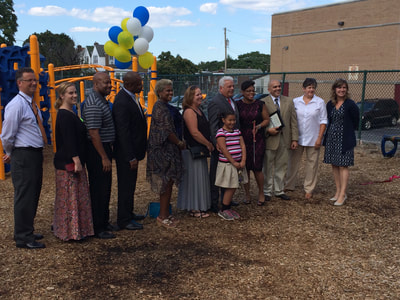 grand opening of volunteer built playground