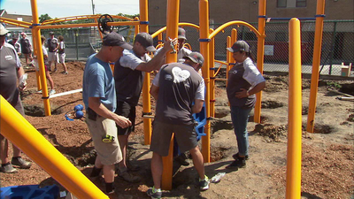 workers building playground